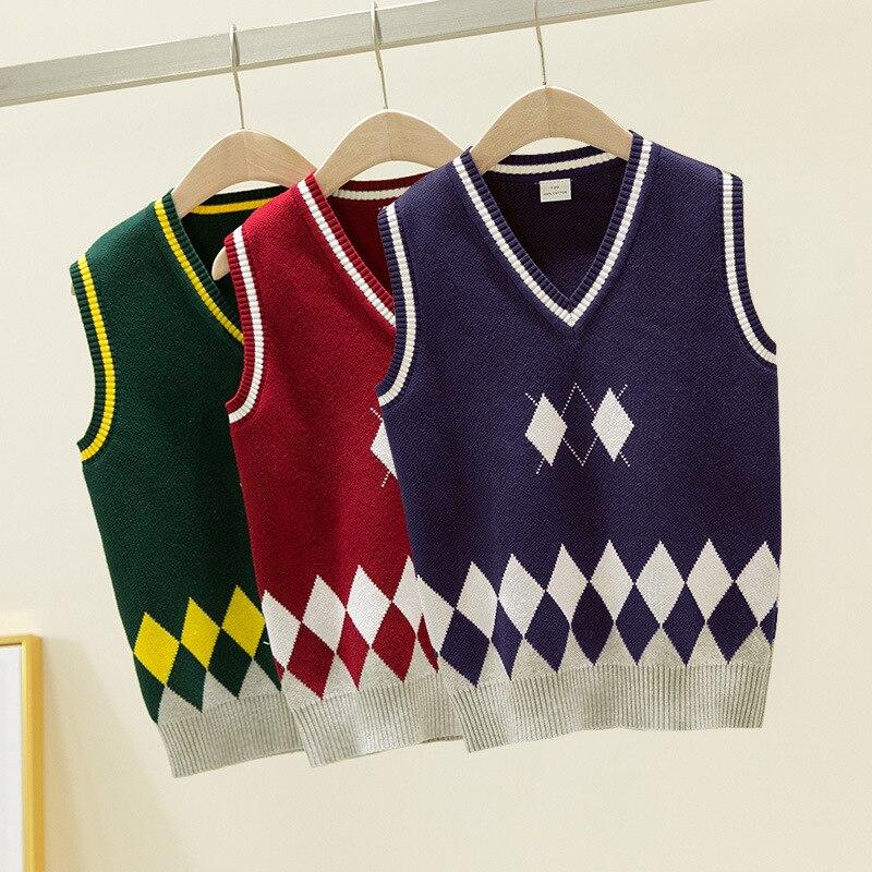 Teenage Spring 100% Cotton Cardigan Teen Boys V-neck Vest Children Waistcoat School Uniform Girls Sweaters for 4 6 8 10 14 Years