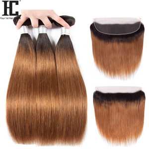 HC Brazilian 1B/30 Straight Ombre Bundles With Frontal Human Hair With Frontal Two Tone Remy Hair Weave With Ear To Ear Frontal(China)
