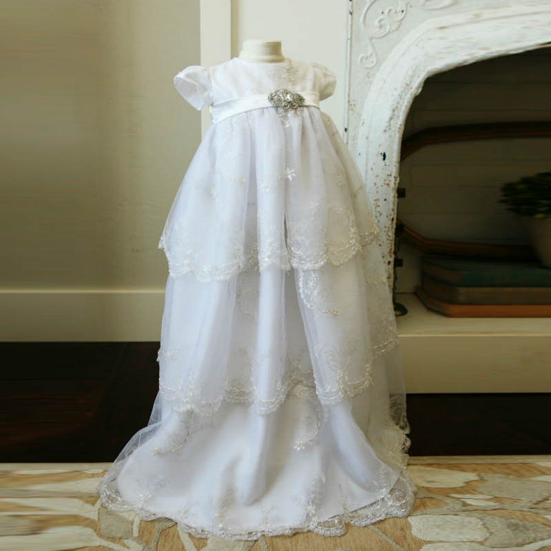 Without Headband Baby Christening Dresses In Length White Lace