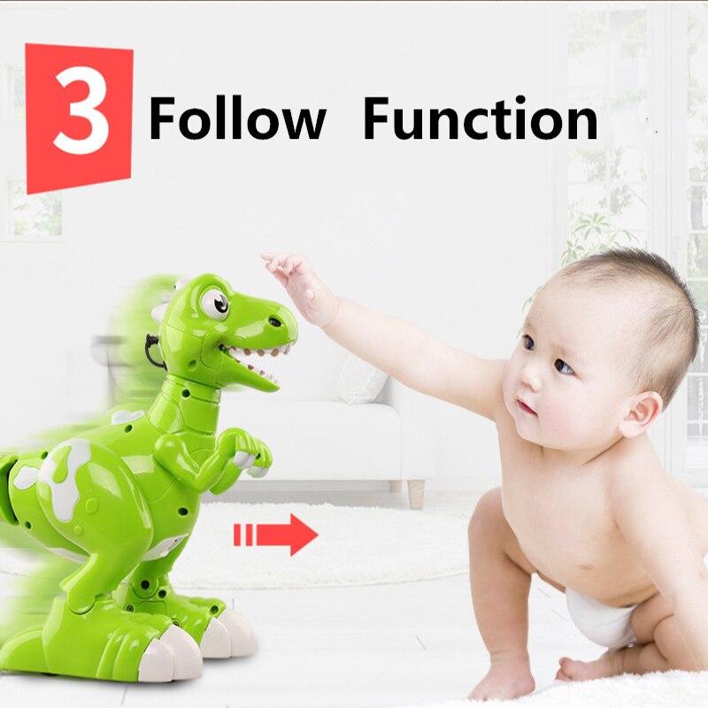 Niños regalos baile y música inteliget seguir RC caminar dinosaurio juguetes Jurásico tyrannosaurus Rex RC Robot con pulverización - 4