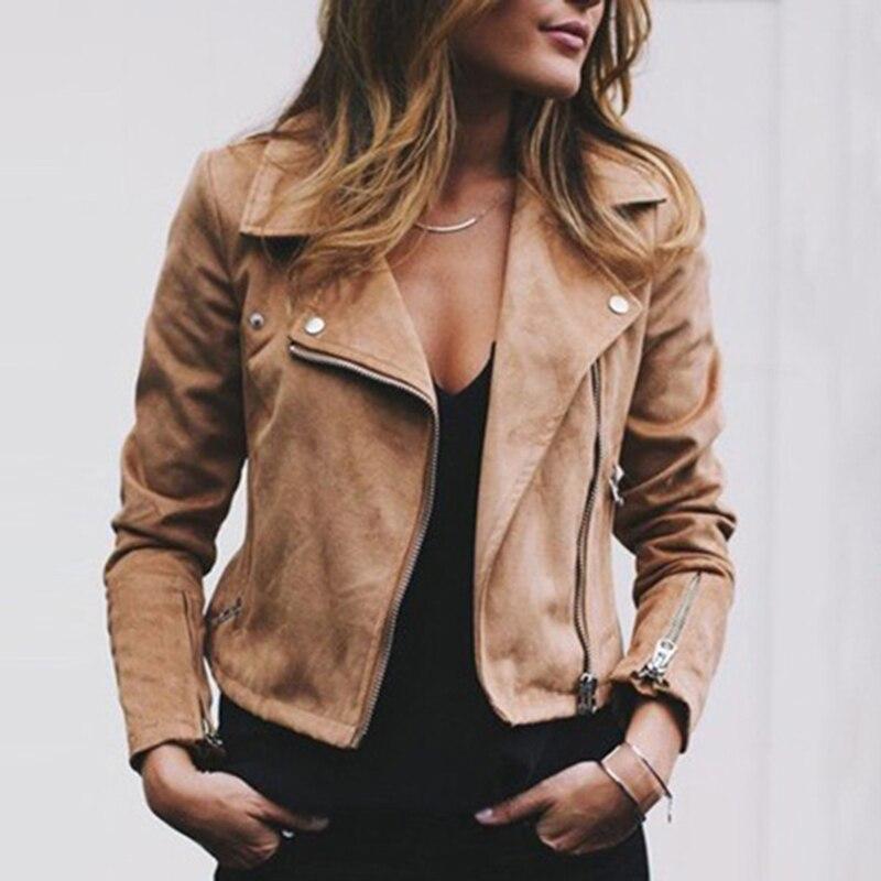 Women Outwear Fashion Suede Leather Jacket Coats Flight Biker Motorcycle coat New S~XL Ladies black Streetwear Zipper ramoneska