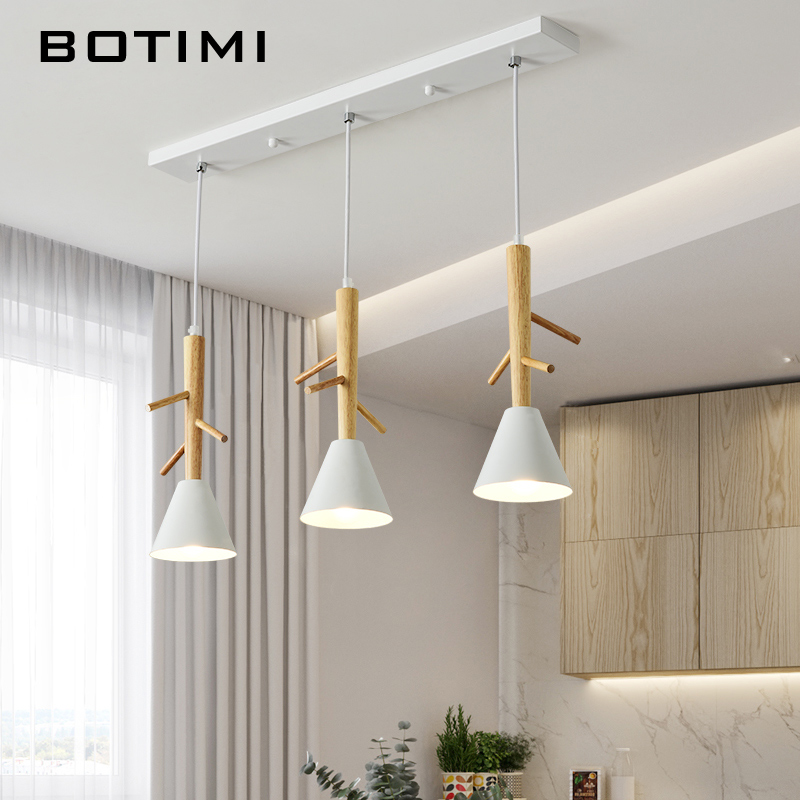 BOTIMI Tree Shaped Wooden Pendant Lights With White Metal Lampshade For Dining Room Nordic Style Triple  LED Pendant Lamp