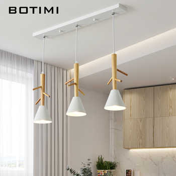 BOTIMI Tree Shaped Wooden Pendant Lights With White Metal Lampshade For Dining Room Nordic Style Triple  LED Pendant Lamp - DISCOUNT ITEM  30% OFF All Category