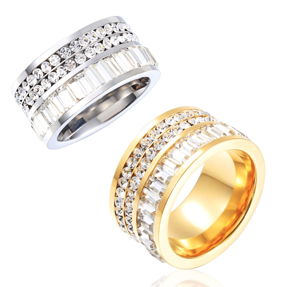 Top Quality Unisex Arabic Gold Jewelry Full White Crystal Ring