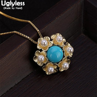 Uglyless 100% Real 925 Sterling Silver Handmade Flower Chokers for Women Natural Turquoise Necklaces With Chains Pearls Pendants