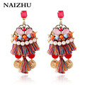 Fashion pendientes vintage women earring wholesale pearl tassel earrings ethnic hand-made woven bohemian earring