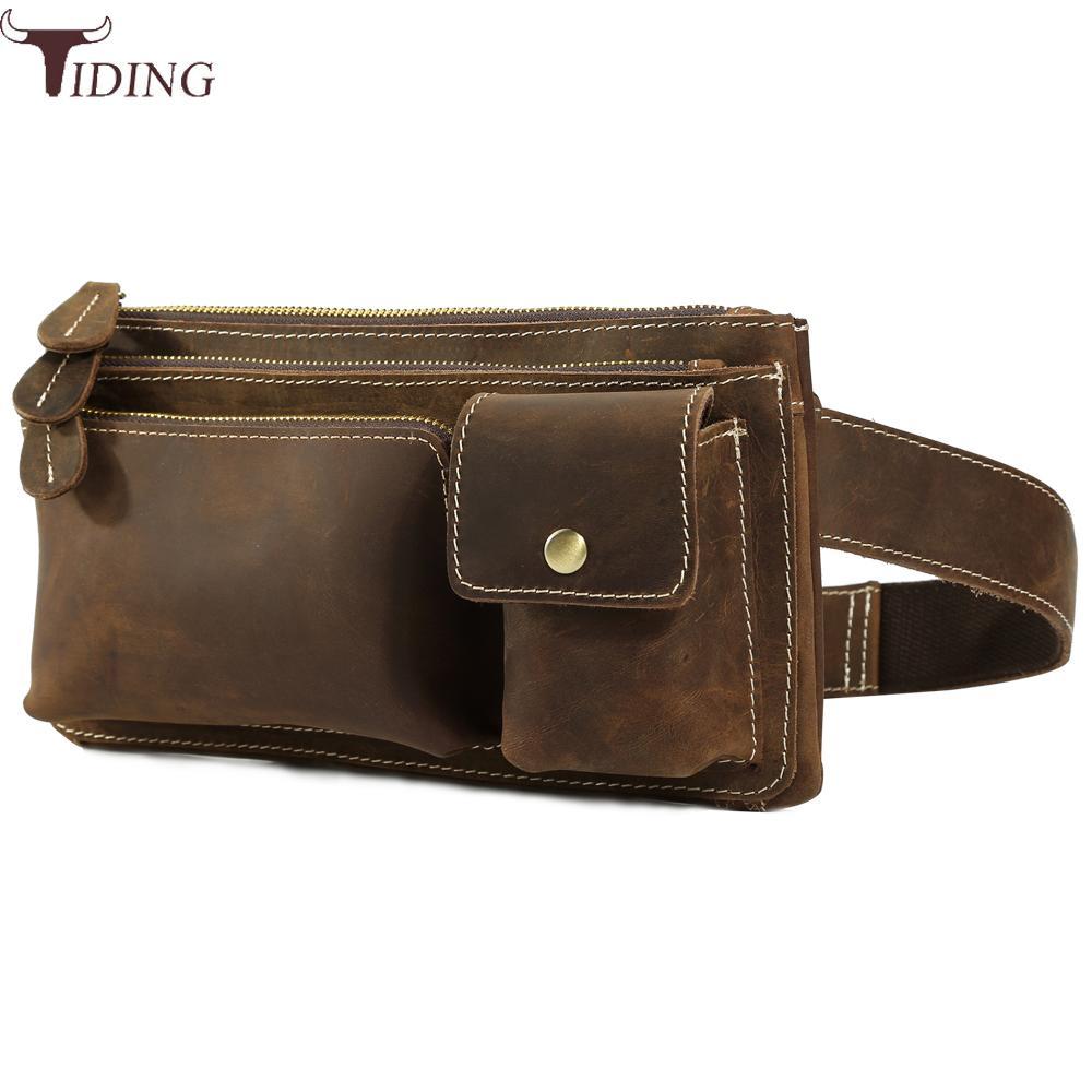 8f92d4feebc US $51.75 25% OFF Designer 100% Genuine Leather Waist Pack Mens Fanny Pack  Simple Vintage Pillow Belt Bag Cool Hip Bum Bag Day Pack Brown Tiding-in ...