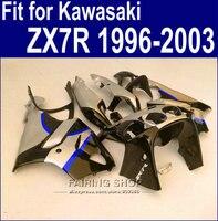 100%Abs Fairings For Kawasaki ninja ZX7R 1996 1999 1998 2002 2003 ( Silver blue black ) 96 03 new Fairing kit a51