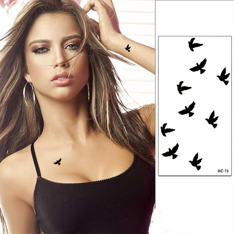 3 Pcs Wrist Flash Tattoo Fake Tattoo Black Birds Painting 3D Waterproof Temporary Tattoo Sticker For Body Art Women Henna Tatoo