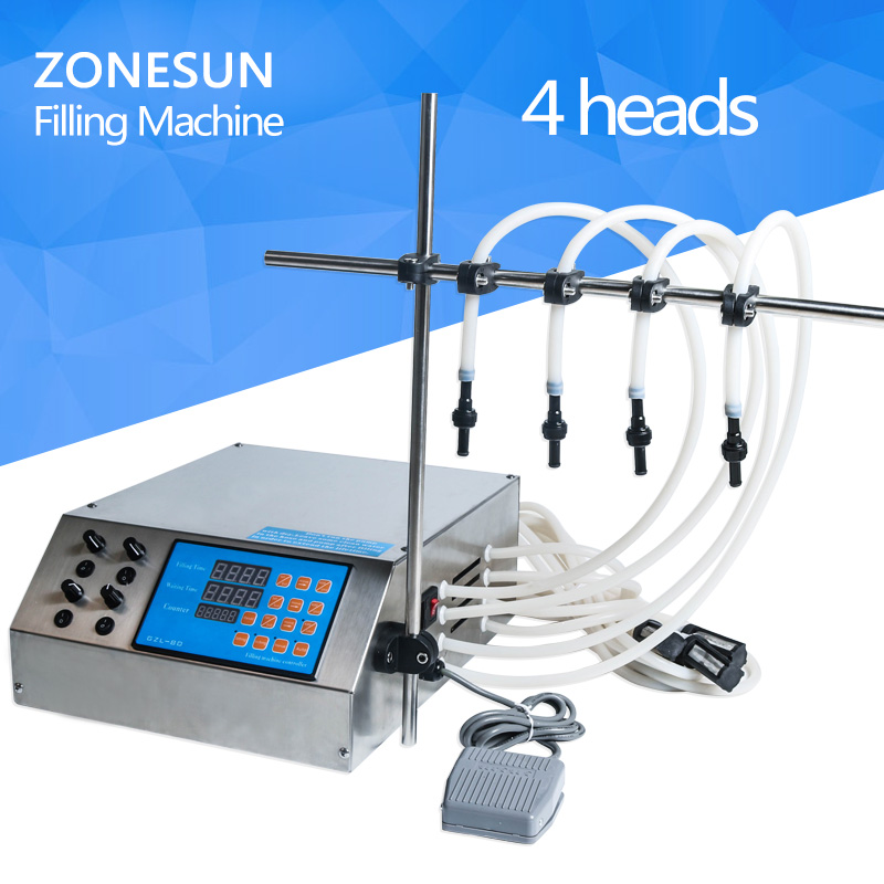 ZONESUN 4 head nozzle liquid,perfume,water,juice,essential oil Electric Digital Control Pump Liquid Filling Machine micro computer liquid filling machine for juice filler shampoo oil water perfume