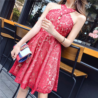 2018 New Celebrity Sexy Lace Chic Summer Black Red Dress Sleeveless Cross Halter Club Party Dresses