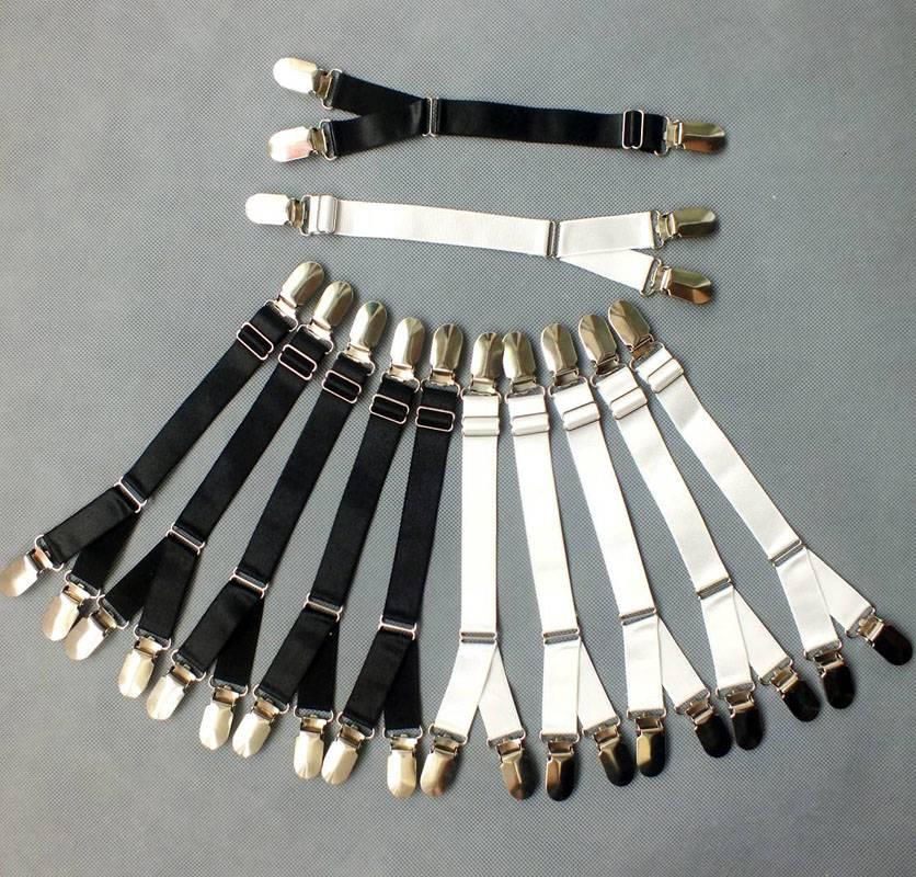 4 Bride Leg Garter Adjustable Metal Duckbill Clip Buckle Garters Y Type Elastic Leg Garter Straps Belt Clips for Thigh Stockings