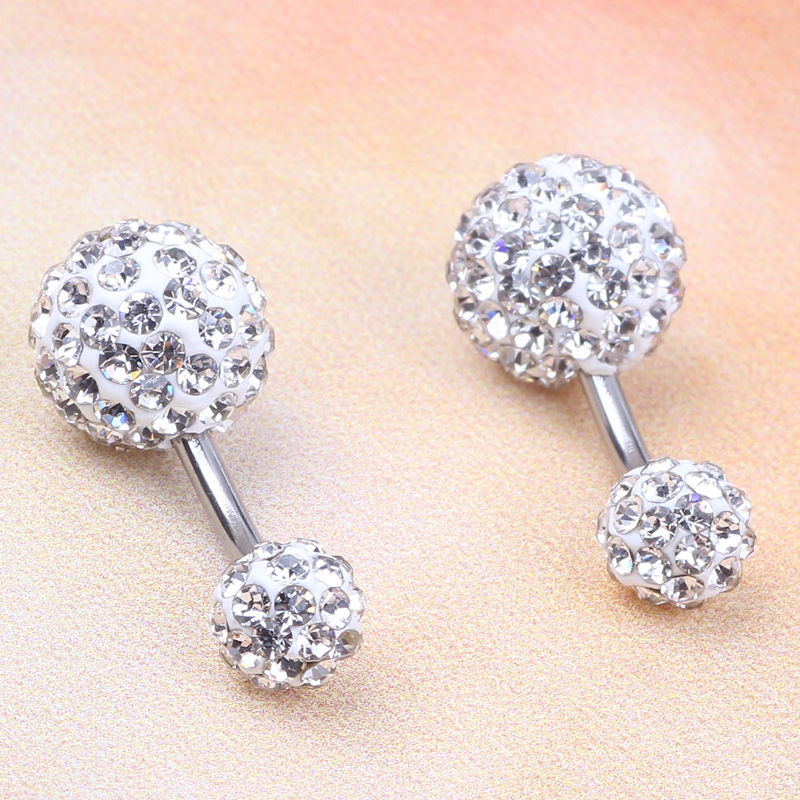 Cristal Strass Ball Tongue Nipple Bar Ring Barbell Body Jewelry Piercing FR