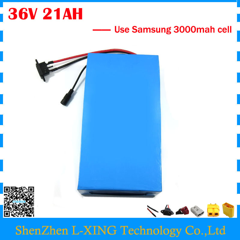 Free customs fee 36V 21AH li-ion battery pack 36V 21AH electric bike battery use Samsung 3000mah cell with 2A Charger