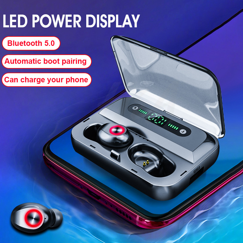 H&A TWS 5.0 Bluetooth 6D Stereo Earphone Wireless Earphones  LED Display Waterproof Earphones 1200mAh Power Bank Phone Holder