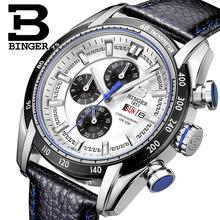 2017 men's watch luxury brand Wristwatches BINGER Quartz Genuine Leather watch Sport Chronograph clock Diver glowwatch B1163-6