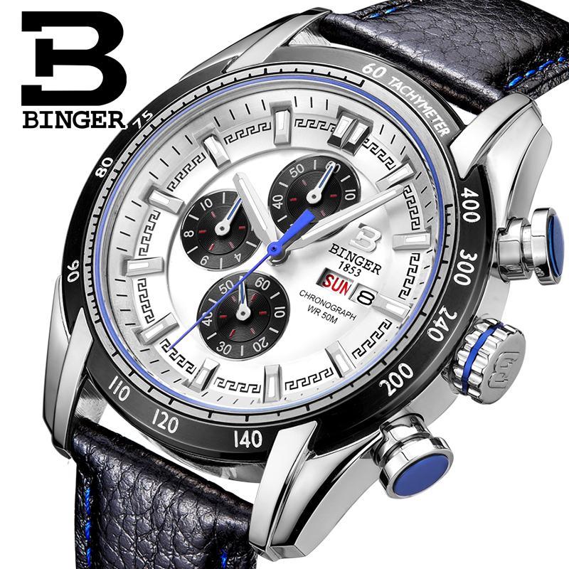 2018 mens watch luxury brand Wristwatches BINGER Quartz Genuine Leather watch Sport Chronograph clock Diver glowwatch B1163-62018 mens watch luxury brand Wristwatches BINGER Quartz Genuine Leather watch Sport Chronograph clock Diver glowwatch B1163-6