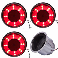 4Pcs/Set Stainless Steel Car Cup Holder Red 8 LED Recessed Drink Bottle Holder Stand for Car Truck Marine Boat RV