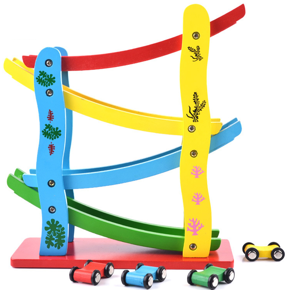 1 Set Kids Slider Car Eyes Educational Hands Gift Coordination Race Track Ramp Toy Colorful Marble Run Wooden Practical Ability