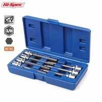 Hallo-Spec 7pc 3/8 Extra Lange Buchse Set 110mm Buchse Adatper für Drehmoment Steckschlüssel Hex Allen schlüssel Schraubendreher Bit Set 3-10mm