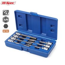 Hi-Spec 7pc 3/8 Extra Long Socket Set 110mm Socket Adatper for Torque Socket Wrench Hex Allen Key Screwdriver Bit Set 3-10mm(China)