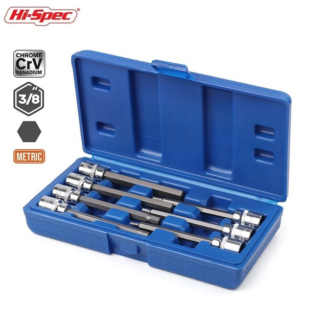 Hi Spec 7pc 3/8 Extra Long Socket Set 110mm Socket Adatper for Torque Socket Wrench Hex Allen Key Screwdriver Bit Set 3 10mm