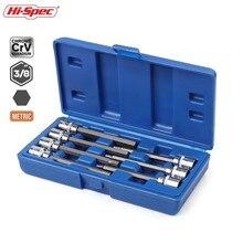 Hi Spec juego de 7 enchufes Extra largos, 3/8mm, llave de torsión, llave Allen hexagonal, Juego de puntas de destornillador de 3 10mm