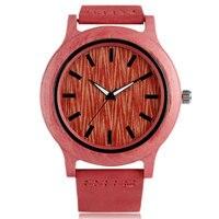 Novel Nature Wood Pink Genuine Leather Band Bamboo Pattern Fashion Strap Wrist Watch Women Quartz Analog