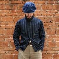 Бронсон Винтаж lot 860 вабаш кромки рубашки осень Для Мужчин's workshirts кромки Полосатый с длинным рукавом Для мужчин Костюмы onewash 2XL