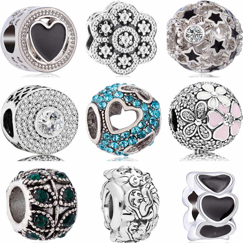 European Crystal Flowers 7 Dwarves Hearts Mickey DIY Beads Fit Original Pandora Charms Bracelets Trinket for Women Berloques
