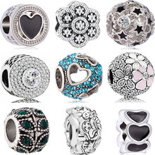European Crystal Flowers 7 Dwarves Hearts Mickey DIY Beads Fit Original Pandora Charms Bracelets Trinket for Women Berloques(China)