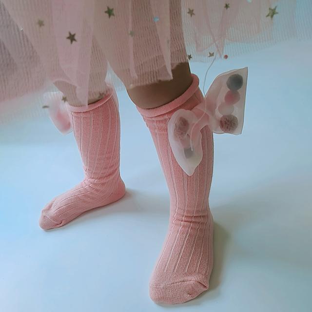 New Cute Children Socks With Bows Toddlers Girls Knee High Socks Cotton Long Boot Socks For Kids One Pair Infant Baby Leg Warmer
