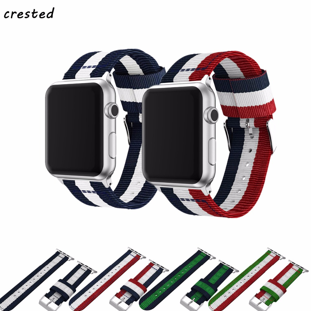 все цены на CRESTED woven nylon strap for apple watch band 42mm/38mm iwatch series 3/2/1 wrist band bracelet belt band canvas watch strap онлайн