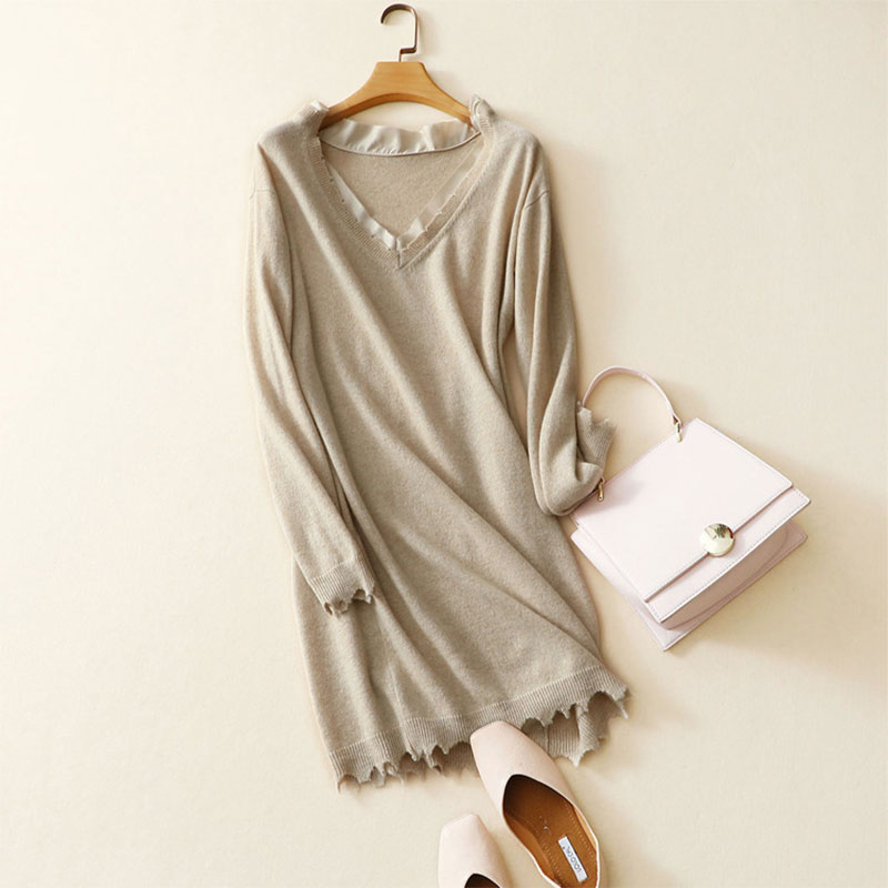 2017 Fall New Arrival 100% Pure Cashmere Casual Loose Deep V-neck Sweater Dress High Quality Womens Christmas Dresses Plus Size