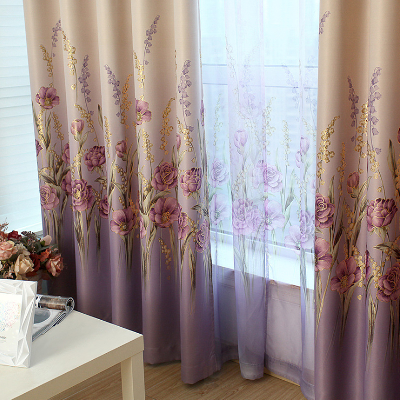 Aliexpress.com : Buy Luxury Living Room Curtains Purple Hooks Top Drapes  Golden Printed Bedroom Window Curtain Pastoral Floral Blackout Curtains  B308 From ...
