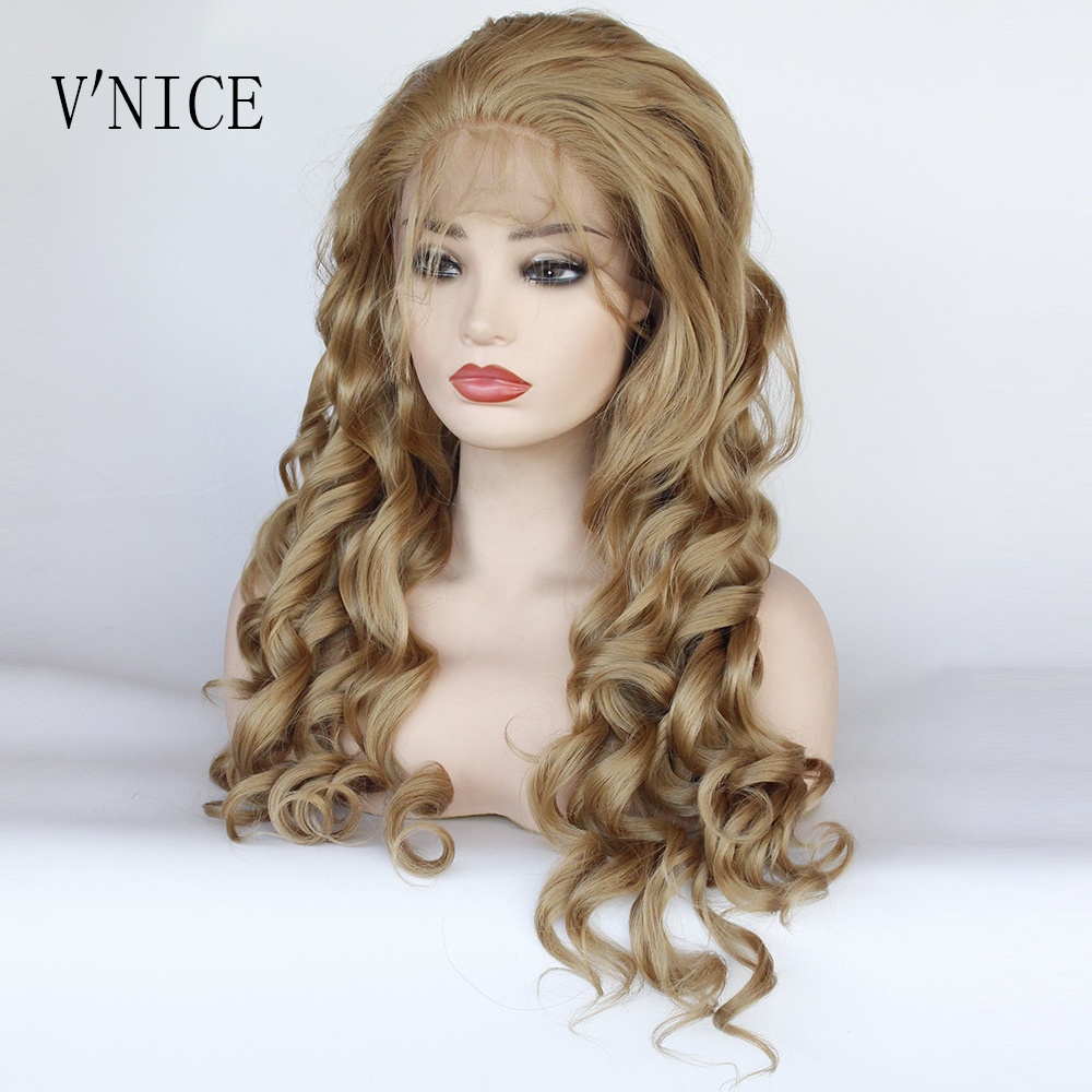 V'NICE Long Loose Wavy Honey Blonde #27 Wig Synthetic Lace Front Golden Blonde Wig with Baby Hair Brazilian Heat Resistant Fiber-in Synthetic Lace Wigs from Hair Extensions & Wigs    1