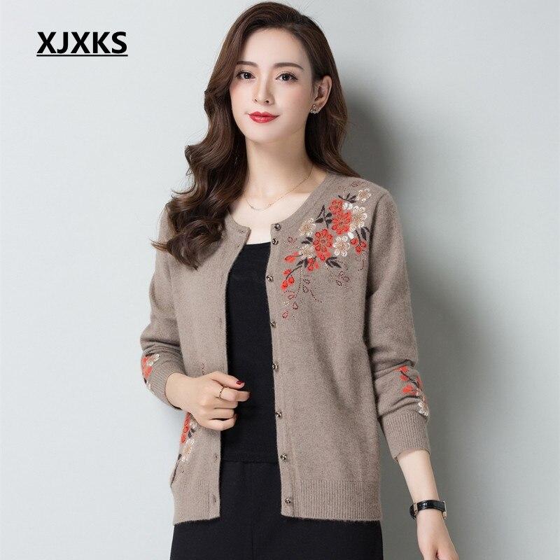 XJXKS Mink Cashmere Sweater Women Jumper Plus Size Antumn Oversized Sweater Cardigans Knitted Coat High Quality