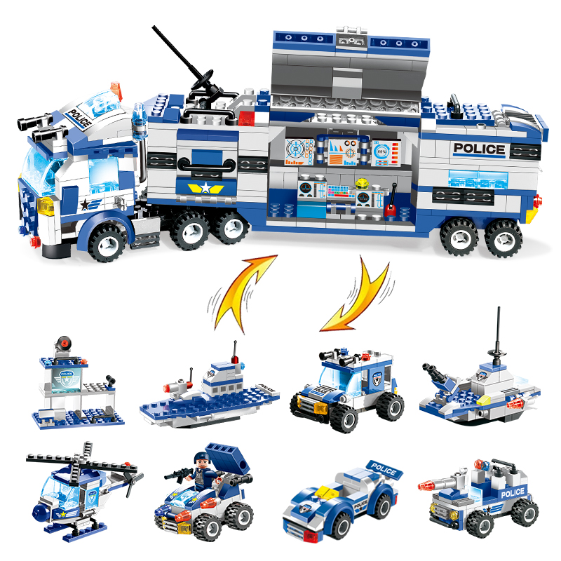 647PCS 762PCS City Police Series SWAT 8 IN 1 City Police Truck Station Building Blocks Small Bricks Toy For Children Boy bohs building blocks city police station coastal guard swat truck motorcycle learning