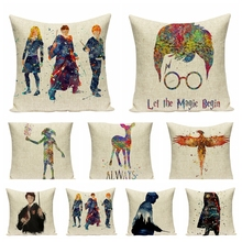 Magic Cartoon Figure Cotton Linen Pillowcase Cushion Decorative Pillow Home Decor Sofa Throw Pillow Dumbledore cheap NoEnName_Null Cusion Leaves HANDMADE New Classical Post-modern Square Adults Removable and Washable Printed Seat Christmas Home Hotel Car Seat