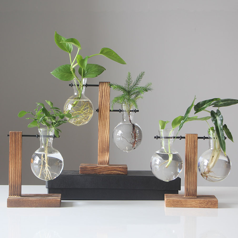 Nordic Simple Hydroponic Plant Vases Vintage Flower Pot Transparent Vase Wooden Frame Glass Tabletop Plants Home Bonsai Decor