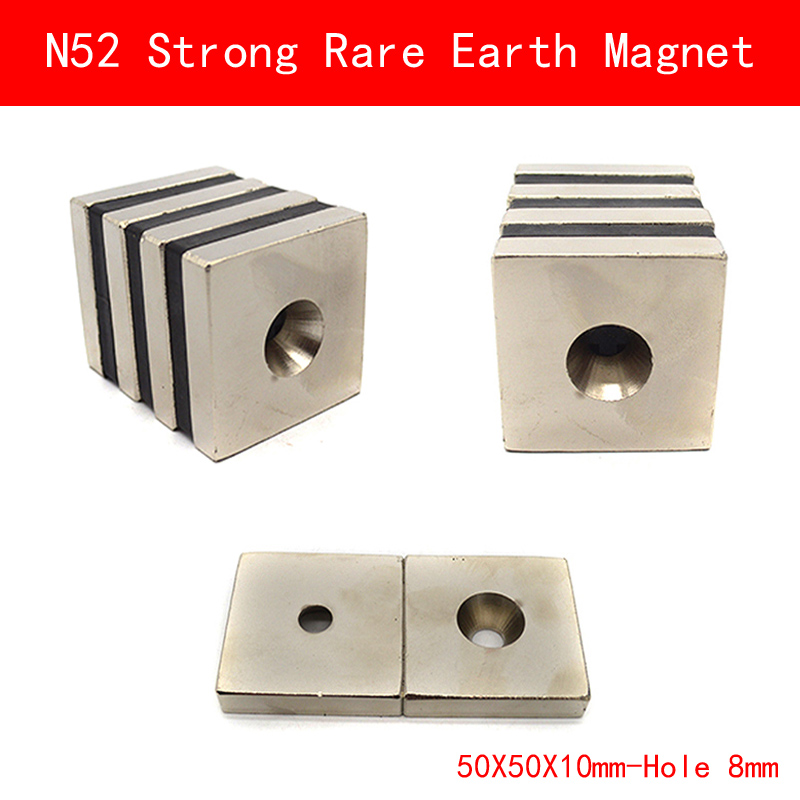 N52 50*50*10MM hole 8MM super strong Permanent Neodymium N52 block Rare Earth Magnet 50X50X10MM 1pcs super strong 50x50x30mm with hole 8mm rare earth neodymium block magnet n52 free shipping