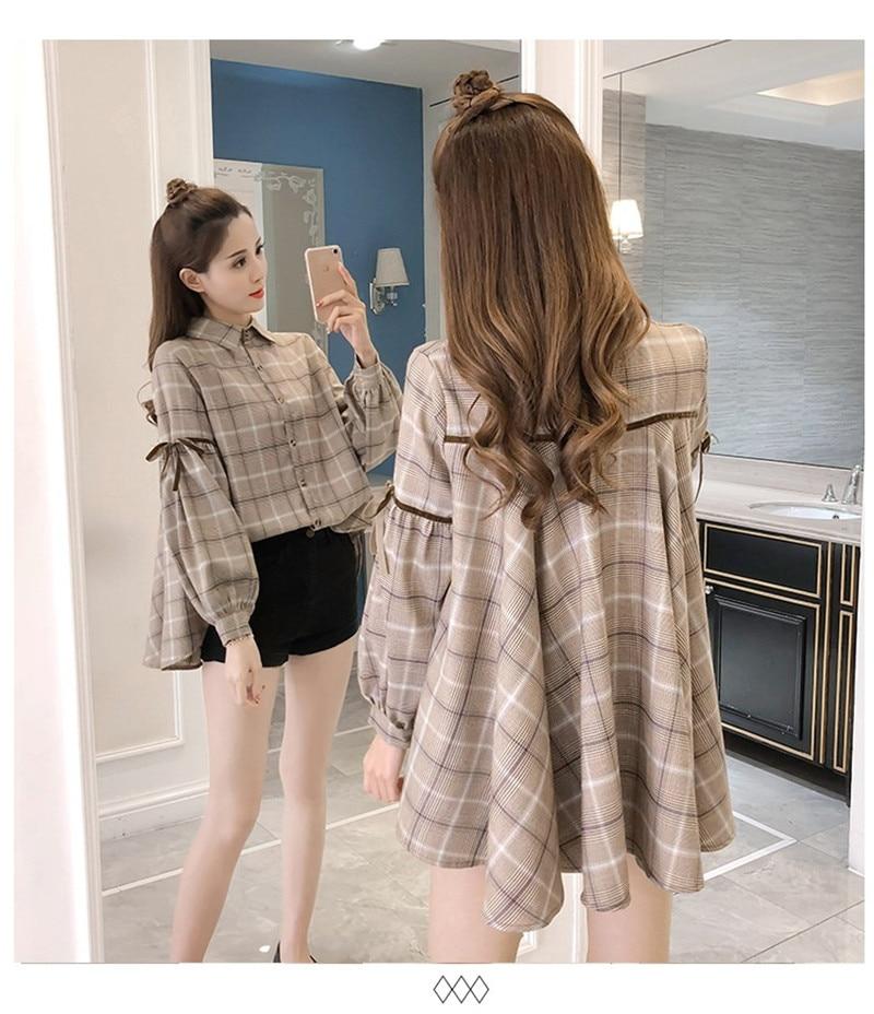 2019 Spring Summer Korean Fashion Women Shirts Long Lantern Sleeve Plaid Shirts Irregular Sweet Blouse Chic Ladies Tops Blusas