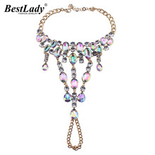 Best lady 2016 New Rhinestone Ankle Bracelet Pied Foot Jewelry Sandals Sexy Leg Chain Female Boho Statement Beach Anklet 3157