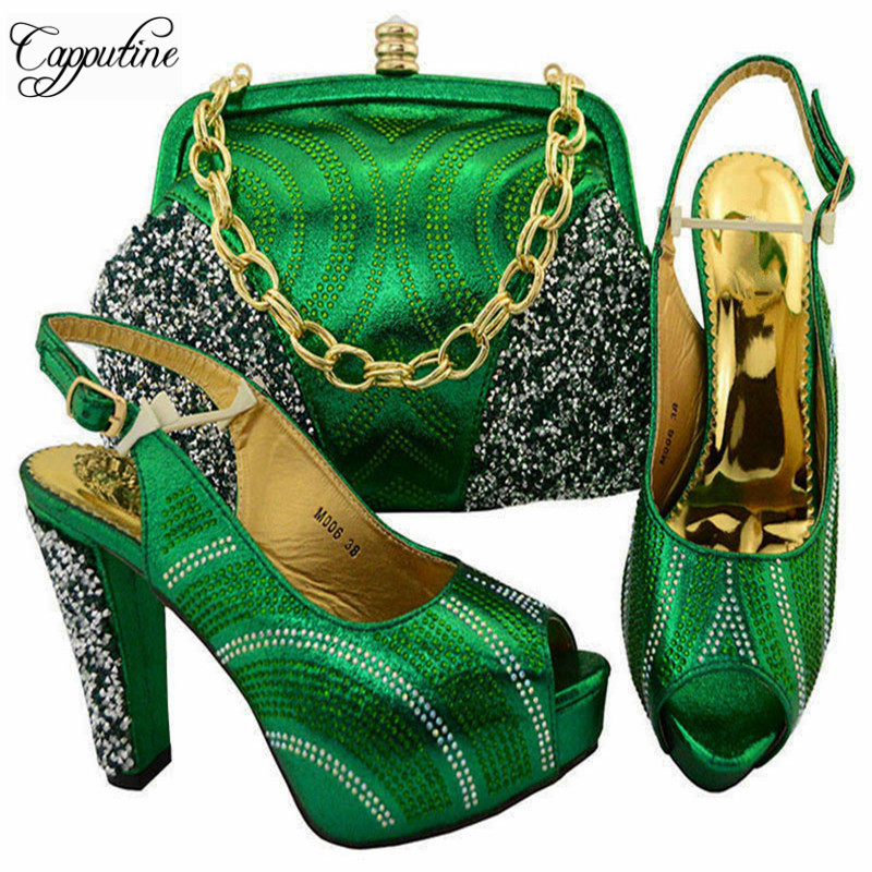 Capputine Itlian Women Green Color Shoes And Bag Set African PU Leather Rhinestone High Heels Shoes And Bag Set For Party YM006