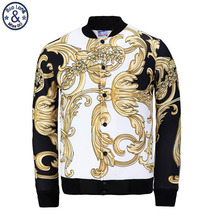 Mr BaoLong Harajuku Spring Autumn Mens Tops Jackets 3D Printed Gold Pteris pattern Vintage Casual Coat