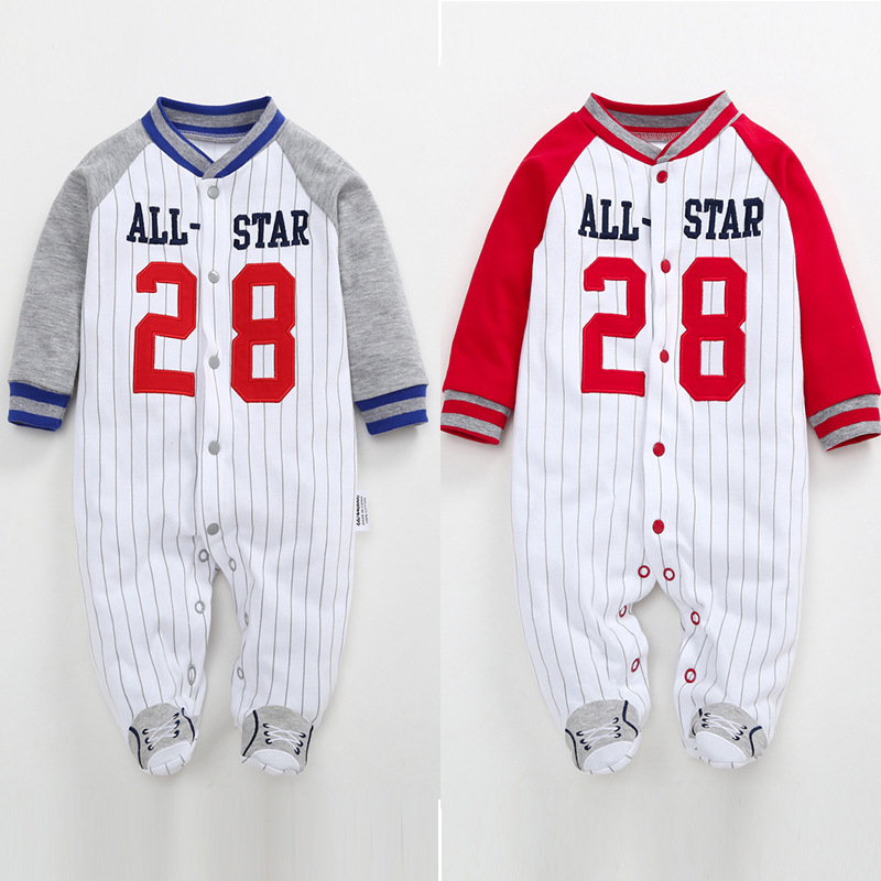 Newborn Infant Baby Boys   Rompers   2019 Spring Babe Girls Clothes Long Sleeve Baseball Uniform Jumpsuit Cotton Baby Pajamas 0-12M