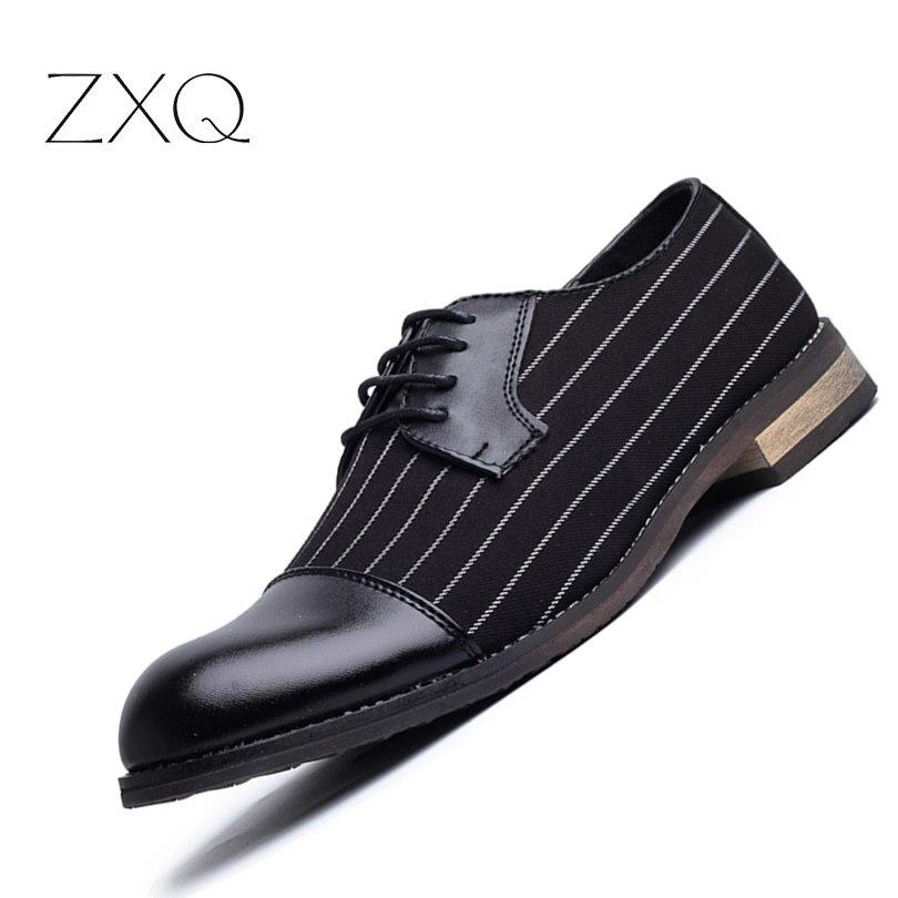 Neue Mode Streifen Einfaches Design Pu-leder Business Kleid Schuhe Mens Casual Schuhe Lace-up Wohnungen EUR Größe 38-44