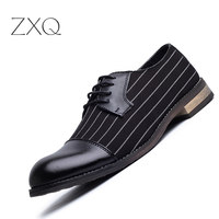 New Fashion Stripe Simple Design PU Leather Business Dress Shoes Mens Casual Shoes Lace up Flats EUR Size 38 44