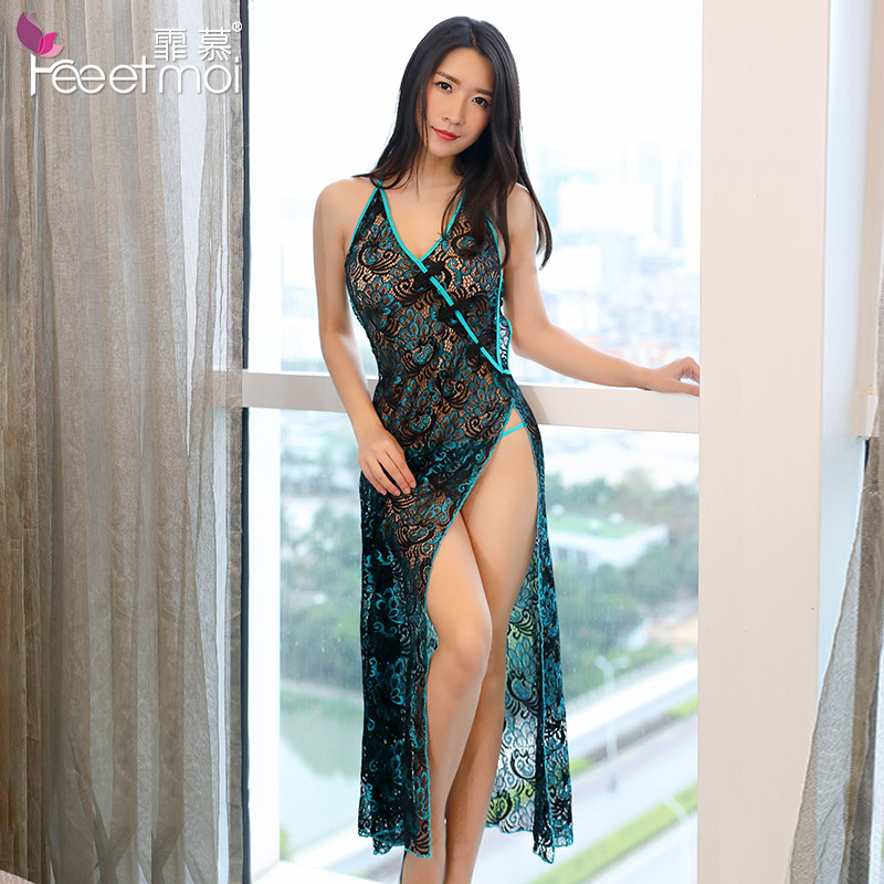 Feeetmoi Peacock Embroidery Cheongsam Long BabyDolls Women Sexy Hollow Out Erotic Lingerie Porno Costumes Sexy Lingerie Dress