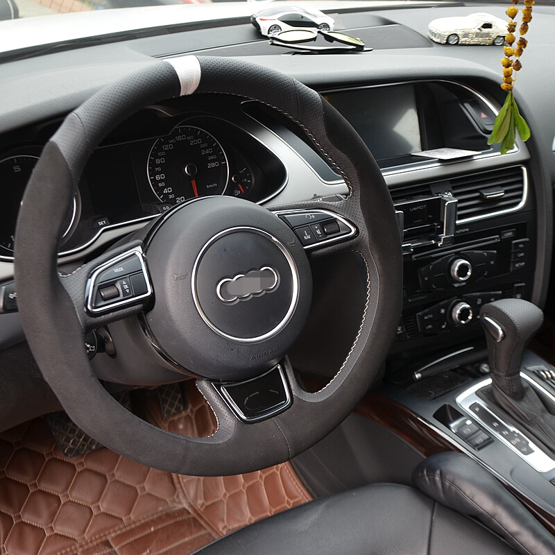 Hand Sew Black Suede Car Steering Wheel Cover for Audi A1 A3 A5 A7